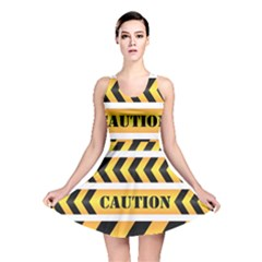 Caution Road Sign Warning Cross Danger Yellow Chevron Line Black Reversible Skater Dress