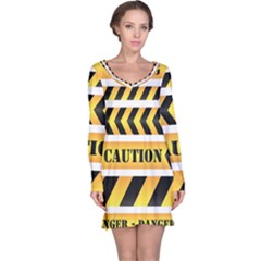 Caution Road Sign Warning Cross Danger Yellow Chevron Line Black Long Sleeve Nightdress