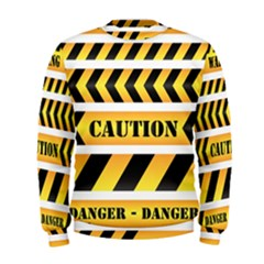 Caution Road Sign Warning Cross Danger Yellow Chevron Line Black Men s Sweatshirt