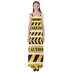 Caution Road Sign Warning Cross Danger Yellow Chevron Line Black Empire Waist Maxi Dress