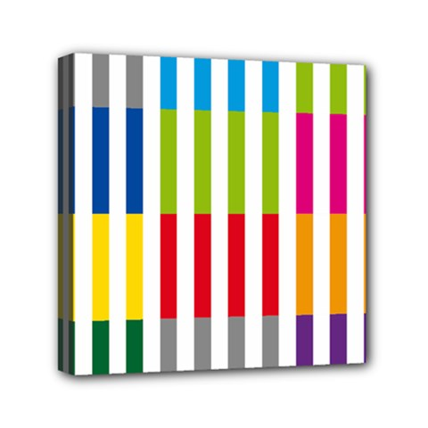 Color Bars Rainbow Green Blue Grey Red Pink Orange Yellow White Line Vertical Mini Canvas 6  X 6