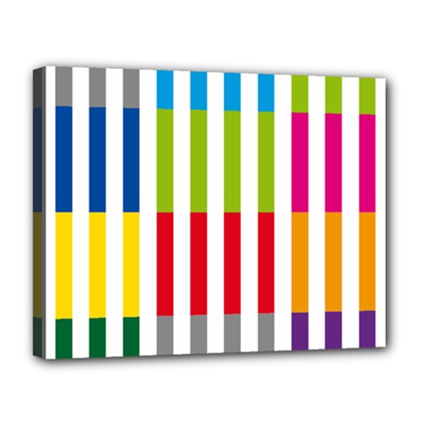 Color Bars Rainbow Green Blue Grey Red Pink Orange Yellow White Line Vertical Canvas 14  x 11
