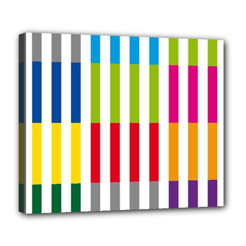 Color Bars Rainbow Green Blue Grey Red Pink Orange Yellow White Line Vertical Deluxe Canvas 24  x 20