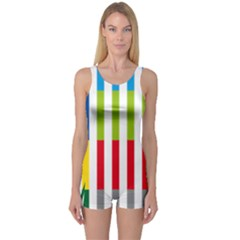Color Bars Rainbow Green Blue Grey Red Pink Orange Yellow White Line Vertical One Piece Boyleg Swimsuit