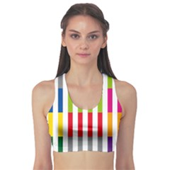 Color Bars Rainbow Green Blue Grey Red Pink Orange Yellow White Line Vertical Sports Bra