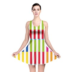 Color Bars Rainbow Green Blue Grey Red Pink Orange Yellow White Line Vertical Reversible Skater Dress