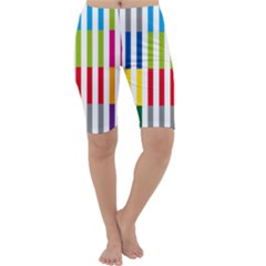 Color Bars Rainbow Green Blue Grey Red Pink Orange Yellow White Line Vertical Cropped Leggings