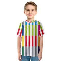 Color Bars Rainbow Green Blue Grey Red Pink Orange Yellow White Line Vertical Kids  Sport Mesh Tee