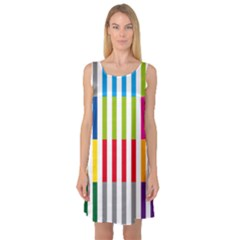 Color Bars Rainbow Green Blue Grey Red Pink Orange Yellow White Line Vertical Sleeveless Satin Nightdress