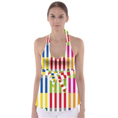 Color Bars Rainbow Green Blue Grey Red Pink Orange Yellow White Line Vertical Babydoll Tankini Top