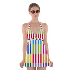 Color Bars Rainbow Green Blue Grey Red Pink Orange Yellow White Line Vertical Halter Swimsuit Dress