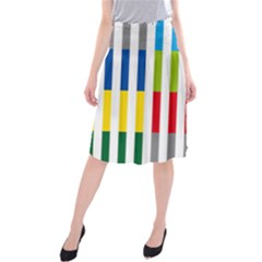 Color Bars Rainbow Green Blue Grey Red Pink Orange Yellow White Line Vertical Midi Beach Skirt