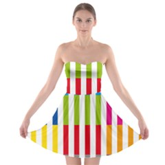 Color Bars Rainbow Green Blue Grey Red Pink Orange Yellow White Line Vertical Strapless Bra Top Dress