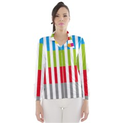 Color Bars Rainbow Green Blue Grey Red Pink Orange Yellow White Line Vertical Wind Breaker (Women)