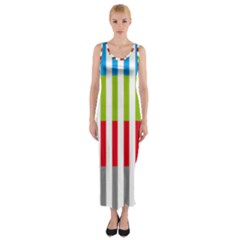 Color Bars Rainbow Green Blue Grey Red Pink Orange Yellow White Line Vertical Fitted Maxi Dress