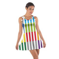 Color Bars Rainbow Green Blue Grey Red Pink Orange Yellow White Line Vertical Cotton Racerback Dress