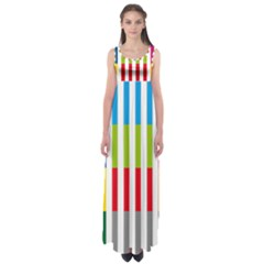 Color Bars Rainbow Green Blue Grey Red Pink Orange Yellow White Line Vertical Empire Waist Maxi Dress