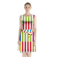 Color Bars Rainbow Green Blue Grey Red Pink Orange Yellow White Line Vertical Sleeveless Chiffon Waist Tie Dress