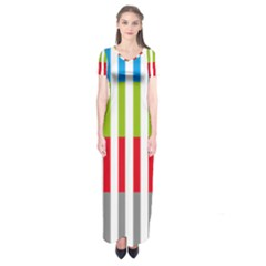 Color Bars Rainbow Green Blue Grey Red Pink Orange Yellow White Line Vertical Short Sleeve Maxi Dress
