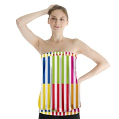 Color Bars Rainbow Green Blue Grey Red Pink Orange Yellow White Line Vertical Strapless Top