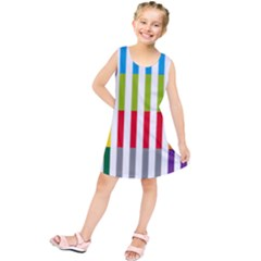 Color Bars Rainbow Green Blue Grey Red Pink Orange Yellow White Line Vertical Kids  Tunic Dress