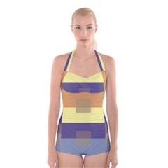 Color Therey Orange Yellow Purple Blue Boyleg Halter Swimsuit