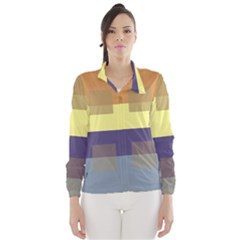 Color Therey Orange Yellow Purple Blue Wind Breaker (Women)