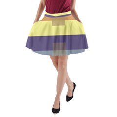 Color Therey Orange Yellow Purple Blue A-Line Pocket Skirt
