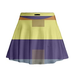 Color Therey Orange Yellow Purple Blue Mini Flare Skirt