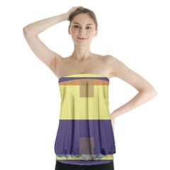 Color Therey Orange Yellow Purple Blue Strapless Top