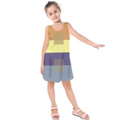 Color Therey Orange Yellow Purple Blue Kids  Sleeveless Dress