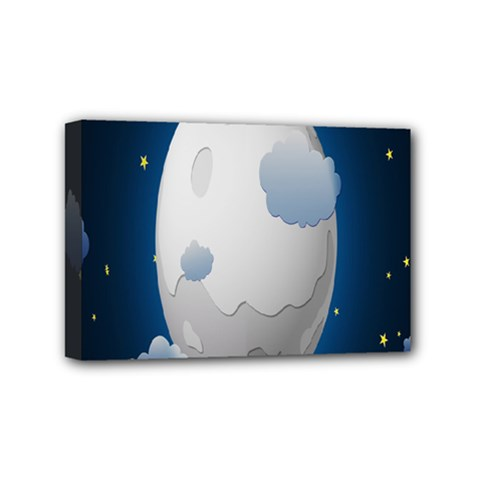Cloud Moon Star Blue Sky Night Light Mini Canvas 6  x 4