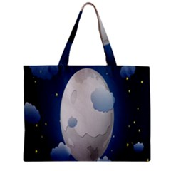 Cloud Moon Star Blue Sky Night Light Zipper Mini Tote Bag