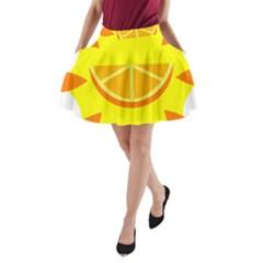 Citrus Cutie Request Orange Limes Yellow A-Line Pocket Skirt
