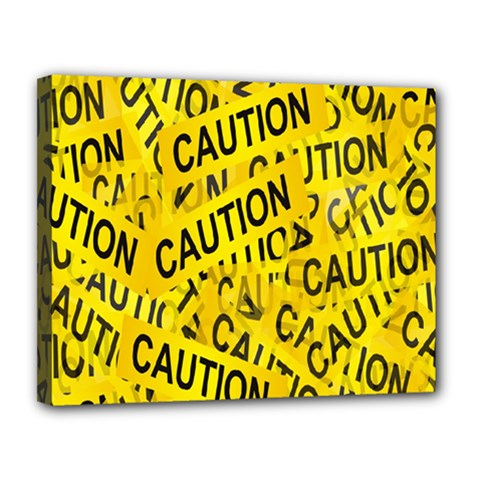Caution Road Sign Cross Yellow Canvas 14  X 11
