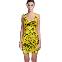 Caution Road Sign Cross Yellow Sleeveless Bodycon Dress