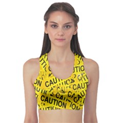 Caution Road Sign Cross Yellow Sports Bra