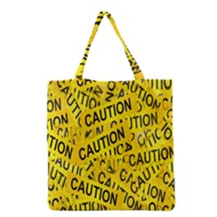 Caution Road Sign Cross Yellow Grocery Tote Bag