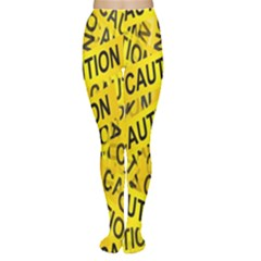 Caution Road Sign Cross Yellow Women s Tights