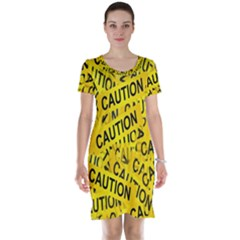 Caution Road Sign Cross Yellow Short Sleeve Nightdress