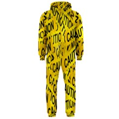 Caution Road Sign Cross Yellow Hooded Jumpsuit (Men)