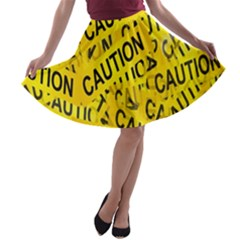 Caution Road Sign Cross Yellow A-line Skater Skirt