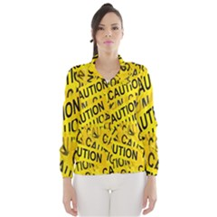 Caution Road Sign Cross Yellow Wind Breaker (Women)