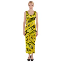 Caution Road Sign Cross Yellow Fitted Maxi Dress