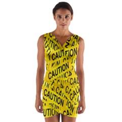 Caution Road Sign Cross Yellow Wrap Front Bodycon Dress