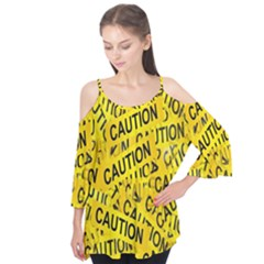 Caution Road Sign Cross Yellow Flutter Tees