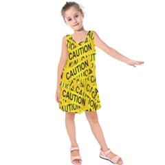 Caution Road Sign Cross Yellow Kids  Sleeveless Dress