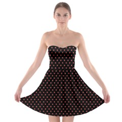 Colored Circle Red Black Strapless Bra Top Dress