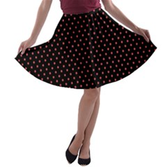 Colored Circle Red Black A-line Skater Skirt