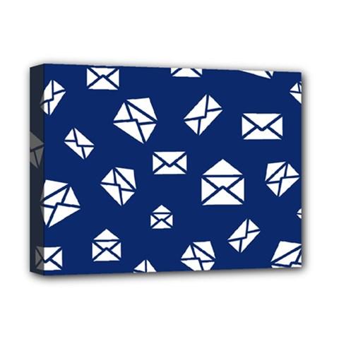 Envelope Letter Sand Blue White Masage Deluxe Canvas 16  x 12